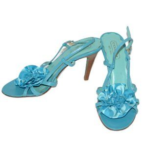 Coach Teal Blue Floral Strappy Heels 7.5